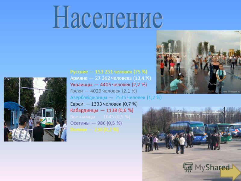 Русские 153 251 человек (75 %) Армяне 27 362 человека (13,4 %) Украинцы 4405 человек (2,2 %) Греки 4029 человек (2,1 %) Азербайджанцы 2535 человек (1,2 %) Евреи 1333 человек (0,7 %) Кабардинцы 1138 (0,6 %) Вьетнамцы 1045 (0,5 %) Осетины 986 (0,5 %) П