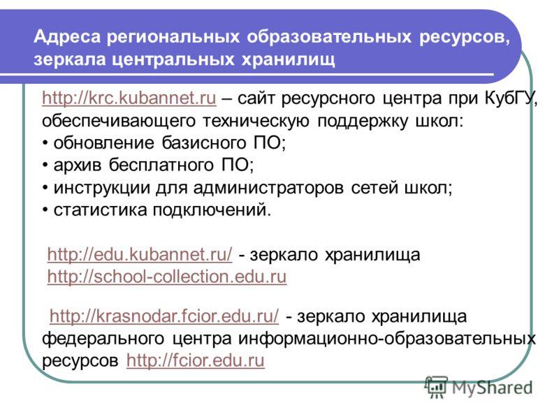 Адреса региональных образовательных ресурсов, зеркала центральных хранилищ http://krc.kubannet.ruhttp://krc.kubannet.ru – сайт ресурсного центра при КубГУ, обеспечивающего техническую поддержку школ: обновление базисного ПО; архив бесплатного ПО; инс