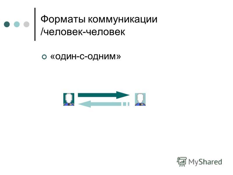 Форматы коммуникации /человек-человек «один-с-одним»