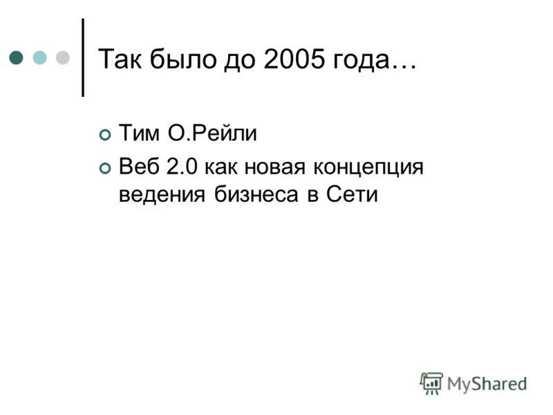 Так было до 2005 года… Тим О.Рейли Веб 2.0 как новая концепция ведения бизнеса в Сети