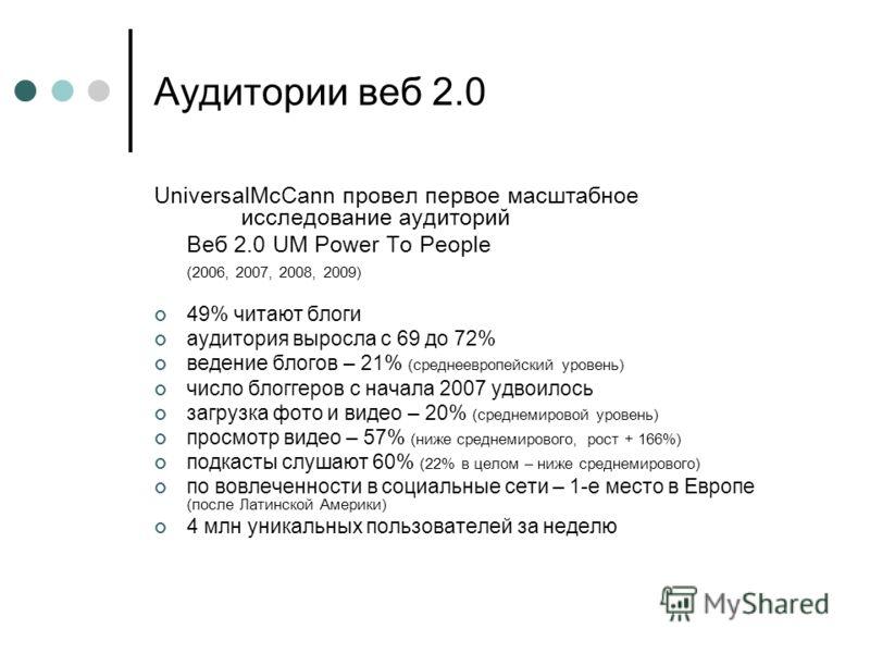 Аудитории веб 2.0 UniversalMcCann провел первое масштабное исследование аудиторий Веб 2.0 UM Power To People (2006, 2007, 2008, 2009) 49% читают блоги аудитория выросла с 69 до 72% ведение блогов – 21% (среднеевропейский уровень) число блоггеров с на