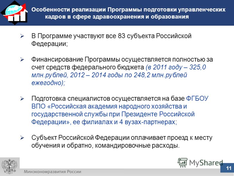 Особенности реализации Программы подготовки управленческих кадров в сфере здравоохранения и образования 11 В Программе участвуют все 83 субъекта Российской Федерации; Финансирование Программы осуществляется полностью за счет средств федерального бюдж