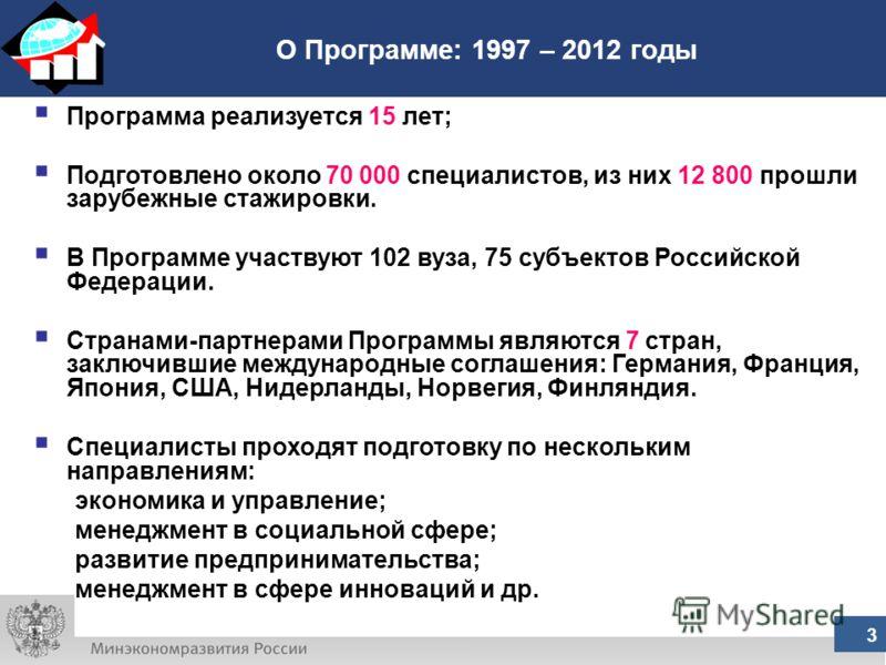 О Программе: 1997 – 2012 годы 3 Программа реализуется 15 лет; Подготовлено около 70 000 специалистов, из них 12 800 прошли зарубежные стажировки. В Программе участвуют 102 вуза, 75 субъектов Российской Федерации. Странами-партнерами Программы являютс