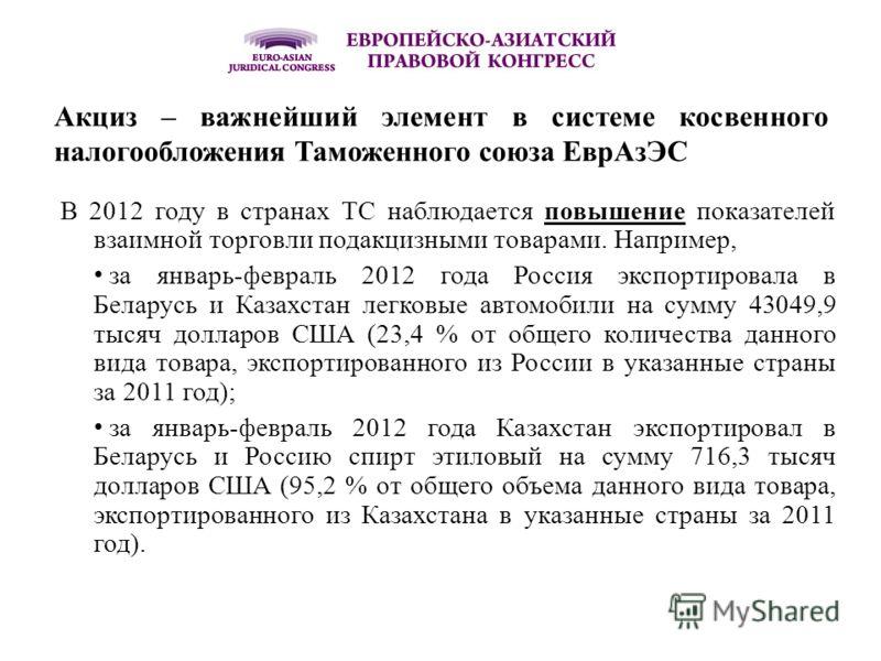 Акциз – важнейший элемент в системе косвенного налогообложения Таможенного союза ЕврАзЭС В 2012 году в странах ТС наблюдается повышение показателей взаимной торговли подакцизными товарами. Например, за январь-февраль 2012 года Россия экспортировала в