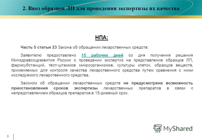 5 Часть 5 статьи 23 Закона об обращении лекарственных средств: Заявителю предоставлено 15 рабочих дней со дня получения решения Минздравсоцразвития России о проведении экспертиз на представление образцов ЛП, фармсубстанций, тест-штаммов микроорганизм
