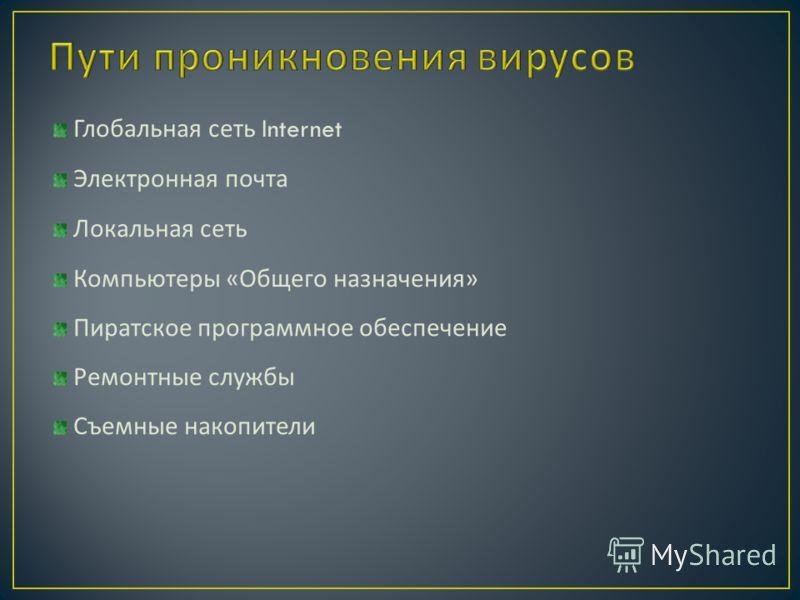 Глобальная сеть Internet Электронная почта Локальная сеть Компьютеры « Общего назначения » Пиратское программное обеспечение Ремонтные службы Съемные накопители