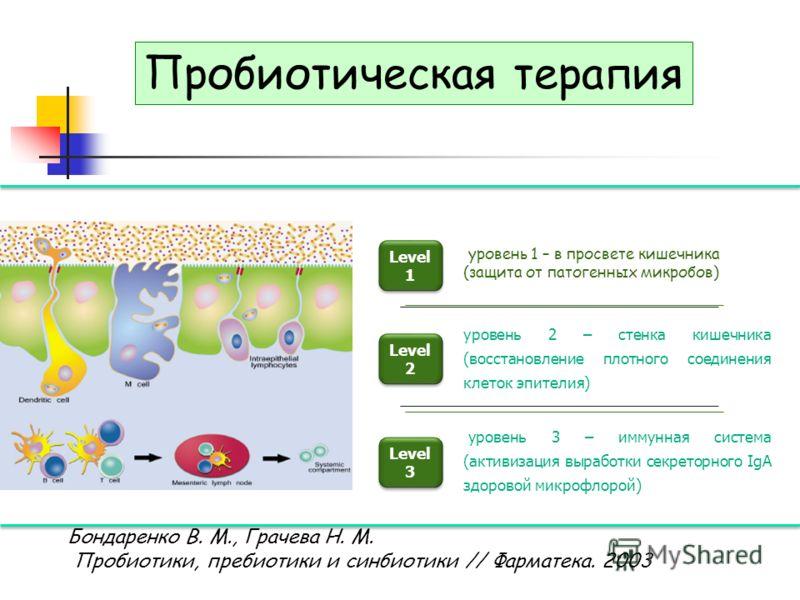 Level 1 Level 1 Level 2 Level 2 Level 3 Level 3 уровень 1 – в просвете кишечника (защита от патогенных микробов) уровень 2 – стенка кишечника (восстановление плотного соединения клеток эпителия) уровень 3 – иммунная система (активизация выработки сек
