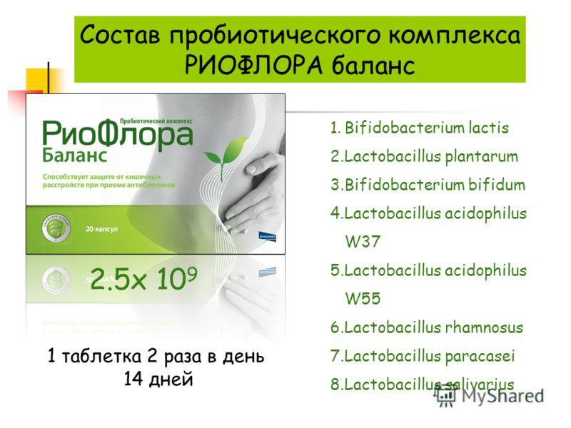 1.Bifidobacterium lactis 2.Lactobacillus plantarum 3.Bifidobacterium bifidum 4.Lactobacillus acidophilus W37 5.Lactobacillus acidophilus W55 6.Lactobacillus rhamnosus 7.Lactobacillus paracasei 8.Lactobacillus salivarius Состав пробиотического комплек