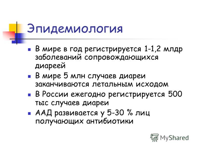 Эпидемиология В мире в год регистрируется 1-1,2 млдр заболеваний сопровождающихся диареей В мире 5 млн случаев диареи заканчиваются летальным исходом В России ежегодно регистрируется 500 тыс случаев диареи ААД развивается у 5-30 % лиц получающих анти