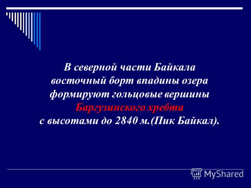 В северной части Байкала восточный борт впадины озера формируют гольцовые вершины Баргузинского хребта с высотами до 2840 м.(Пик Байкал).