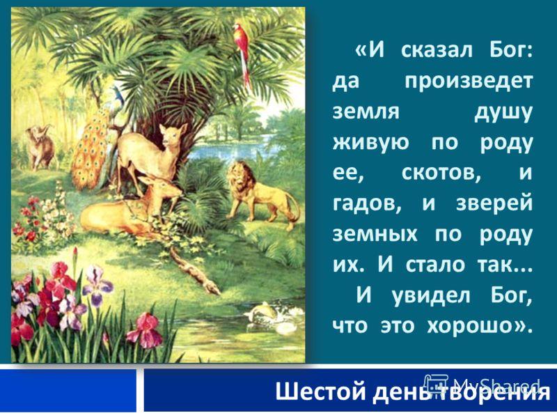 « И сказал Бог : да произведет земля душу живую по роду ее, скотов, и гадов, и зверей земных по роду их. И стало так... И увидел Бог, что это хорошо ». Шестой день творения