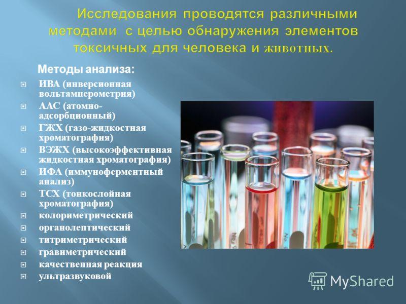 ИВА ( инверсионная вольтамперометрия ) ААС ( атомно - адсорбционный ) ГЖХ ( газо - жидкостная хроматография ) ВЭЖХ ( высокоэффективная жидкостная хроматография ) ИФА ( иммуноферментный анализ ) ТСХ ( тонкослойная хроматография ) колориметрический орг