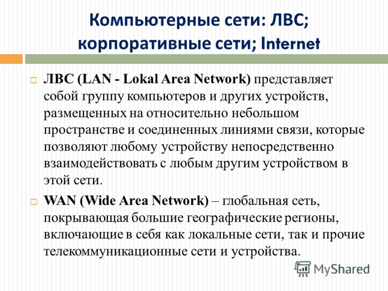Компьютерные сети : ЛВС ; корпоративные сети ; Internet ЛВС (LAN - Lokal Area Network) представляет собой группу компьютеров и других устройств, размещенных на относительно небольшом пространстве и соединенных линиями связи, которые позволяют любому