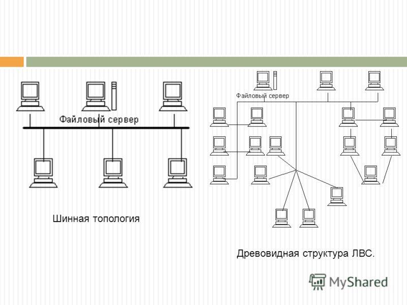 Шинная топология Древовидная структура ЛВС.