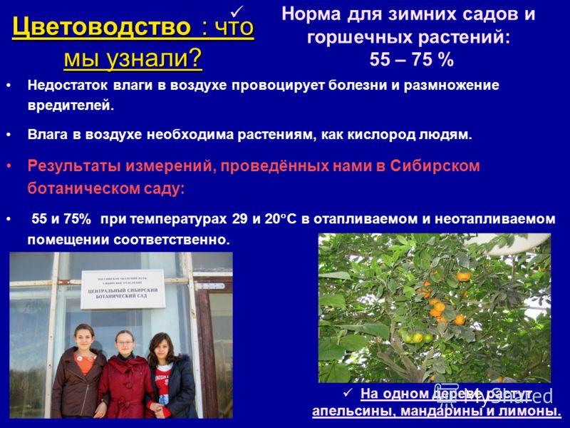 Цветоводство : что мы узнали? Недостаток влаги в воздухе провоцирует болезни и размножение вредителей. Влага в воздухе необходима растениям, как кислород людям. Результаты измерений, проведённых нами в Сибирском ботаническом саду: 55 и 75% при темпер
