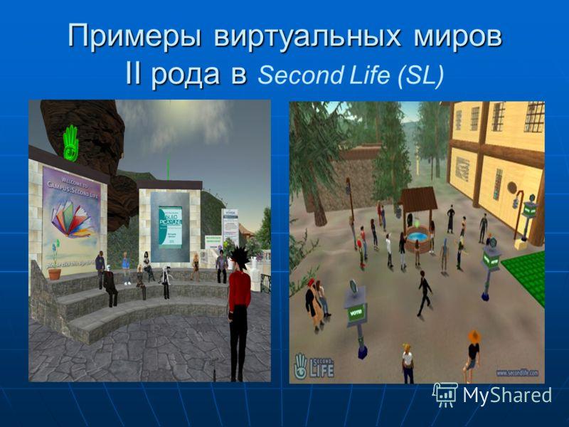 Примеры виртуальных миров II рода в Примеры виртуальных миров II рода в Second Life (SL)