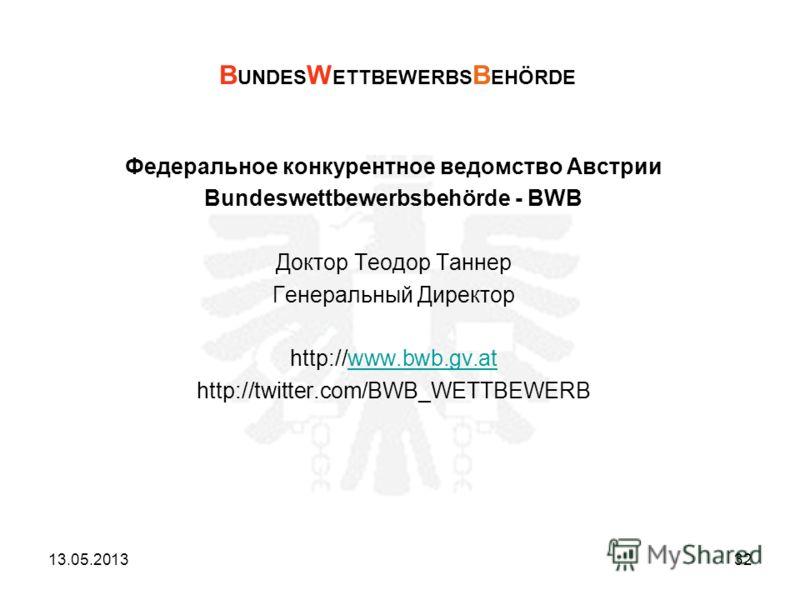 Федеральное конкурентное ведомство Австрии Bundeswettbewerbsbehörde - BWB Доктор Теодор Таннер Генеральный Директор http://www.bwb.gv.atwww.bwb.gv.at http://twitter.com/BWB_WETTBEWERB B UNDES W ETTBEWERBS B EHÖRDE 13.05.201332