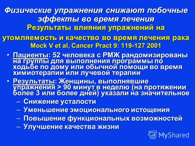 Физические упражнения снижают побочные эффекты во время лечения Результаты влияния упражнений на утомляемость и качество во время лечения рака Mock V et al, Cancer Pract 9: 119-127 2001 Пациенты: 52 человека с РМЖ рандомизированы на группы для выполн