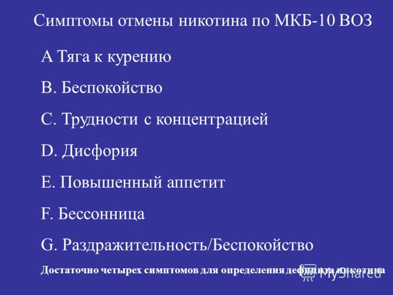 Симптомы отмены никотина по МКБ-10 ВОЗ A Тяга к курению B. Беспокойство C. Трудности с концентрацией D. Дисфория E. Повышенный аппетит F. Бессонница G. Раздражительность/Беспокойство Достаточно четырех симптомов для определения дефицита никотина