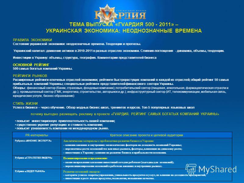 ТЕМА ВЫПУСКА «ГVАРДИЯ 500 - 2011» – УКРАИНСКАЯ ЭКОНОМИКА: НЕОДНОЗНАЧНЫЕ ВРЕМЕНА ПРАВИЛА ЭКОНОМИКИ Состояние украинской экономики: неоднозначные времена. Тенденции и прогнозы. Украинский капитал: движение активов в 2010-2011 в разных отраслях экономик