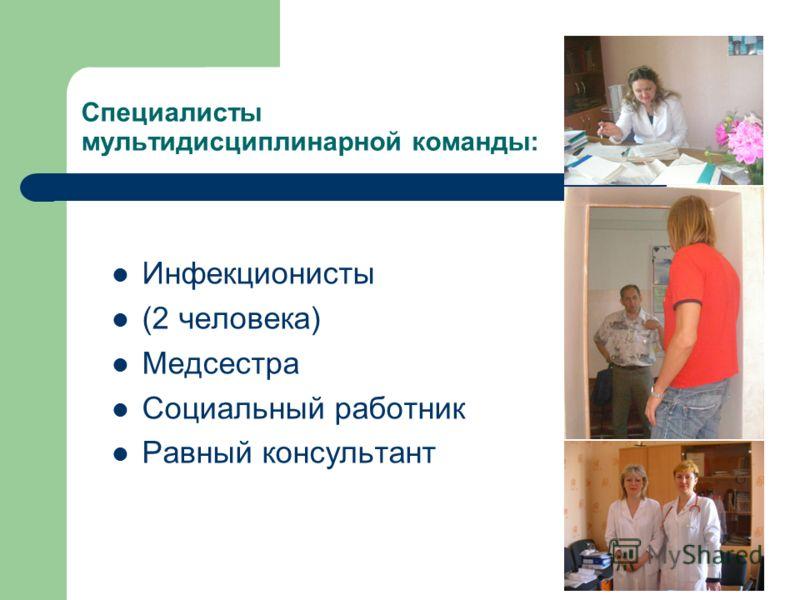 Специалисты мультидисциплинарной команды: Инфекционисты (2 человека) Медсестра Социальный работник Равный консультант