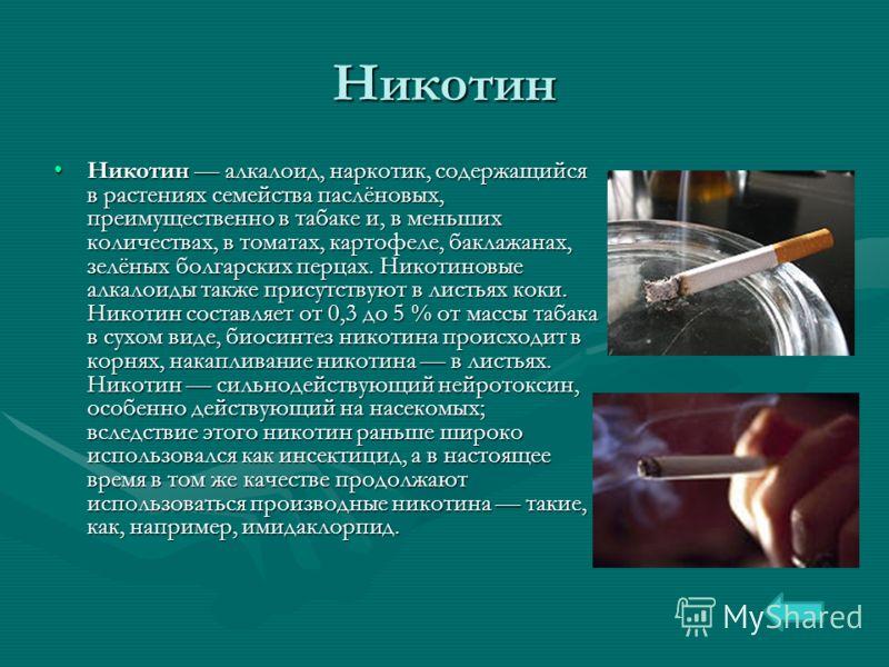 Никотин Никотин алкалоид, наркотик, содержащийся в растениях семейства паслёновых, преимущественно в табаке и, в меньших количествах, в томатах, картофеле, баклажанах, зелёных болгарских перцах. Никотиновые алкалоиды также присутствуют в листьях коки