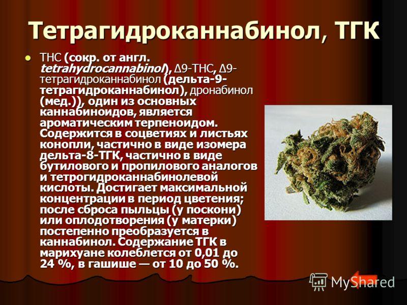 Тетрагидроканнабинол, ТГК THC (сокр. от англ. tetrahydrocannabinol), Δ9-THC, Δ9- тетрагидроканнабинол (дельта-9- тетрагидроканнабинол), дронабинол (мед.)), один из основных каннабиноидов, является ароматическим терпеноидом. Содержится в соцветиях и л