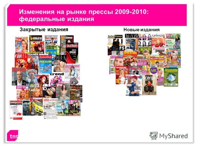 Изменения на рынке прессы 2009-2010: федеральные издания Закрытые издания Новые издания
