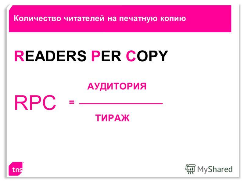 Количество читателей на печатную копию АУДИТОРИЯ = ТИРАЖ RPC READERS PER COPY