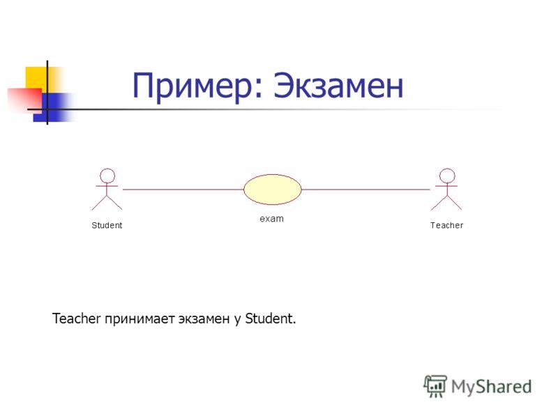 Пример: Экзамен Teacher принимает экзамен у Student.