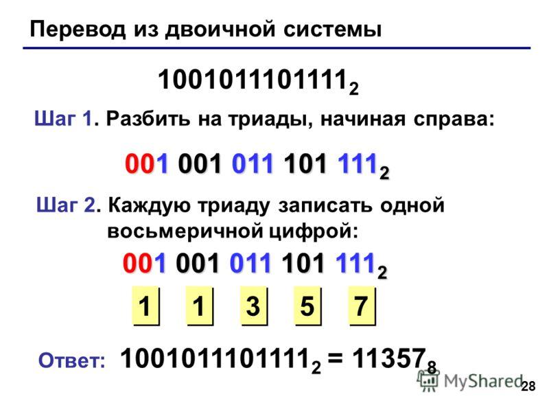 28 Перевод из двоичной системы 1001011101111 2 Шаг 1. Разбить на триады, начиная справа: 001 001 011 101 111 2 Шаг 2. Каждую триаду записать одной восьмеричной цифрой: 1 1 3 3 5 5 7 7 Ответ: 1001011101111 2 = 11357 8 001 001 011 101 111 2 1 1