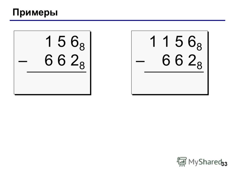 33 Примеры 1 5 6 8 – 6 6 2 8 1 5 6 8 – 6 6 2 8 1 1 5 6 8 – 6 6 2 8 1 1 5 6 8 – 6 6 2 8
