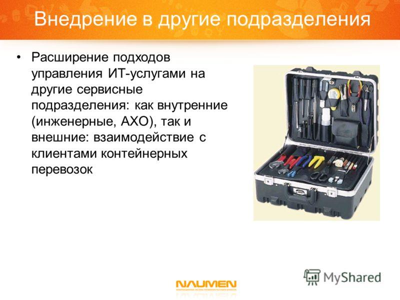Внедрение в другие подразделения Расширение подходов управления ИТ-услугами на другие сервисные подразделения: как внутренние (инженерные, АХО), так и внешние: взаимодействие с клиентами контейнерных перевозок