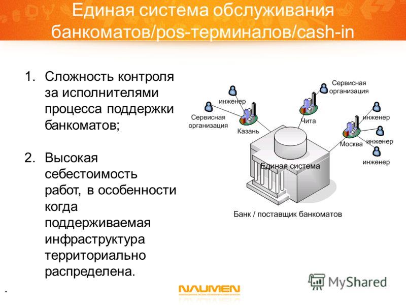 Единая система обслуживания банкоматов/pos-терминалов/cash-in 1.Сложность контроля за исполнителями процесса поддержки банкоматов; 2.Высокая себестоимость работ, в особенности когда поддерживаемая инфраструктура территориально распределена..
