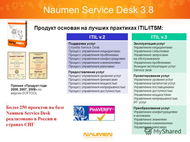 Naumen Service Desk 3.8 Премии «Продукт года 2006, 2007, 2008» по версии SOFTOOL Продукт основан на лучших практиках ITIL/ITSM: ITIL v.3 Эксплуатация услуг Управление инцидентами Управление событиями Управление запросами на обслуживание Управление пр