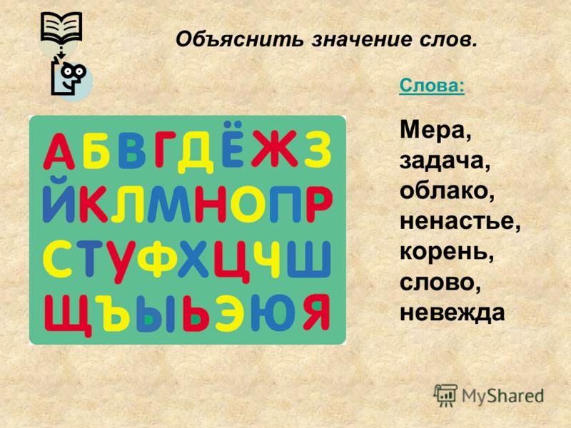 Слова: Мера, задача, облако, ненастье, корень, слово, невежда Объяснить значение слов.