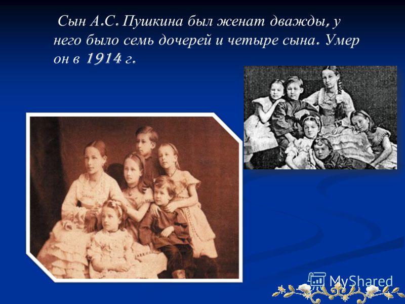 Сын А. С. Пушкина был женат дважды, у него было семь дочерей и четыре сына. Умер он в 1914 г.