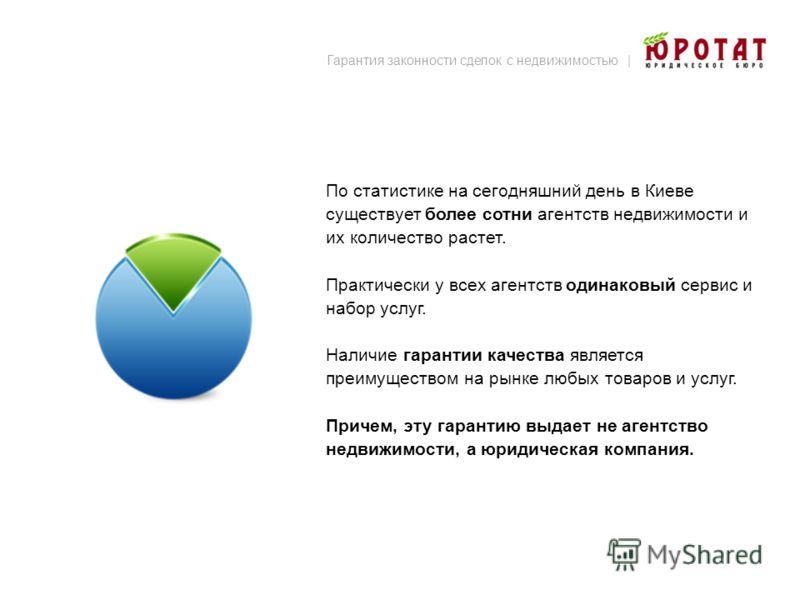 По статистике на сегодняшний день в Киеве существует более сотни агентств недвижимости и их количество растет. Практически у всех агентств одинаковый сервис и набор услуг. Наличие гарантии качества является преимуществом на рынке любых товаров и услу