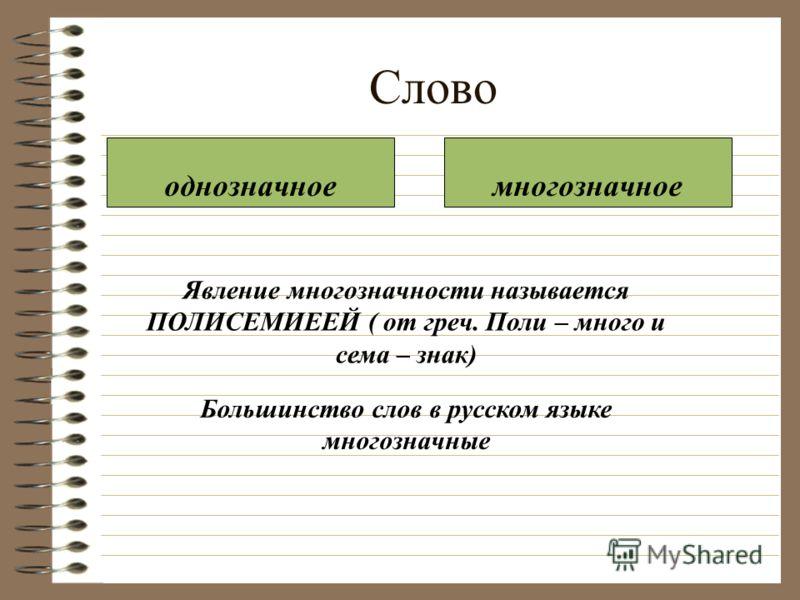 Слово однозначноемногозначное Явление многозначности называется ПОЛИСЕМИЕЕЙ ( от греч. Поли – много и сема – знак) Большинство слов в русском языке многозначные