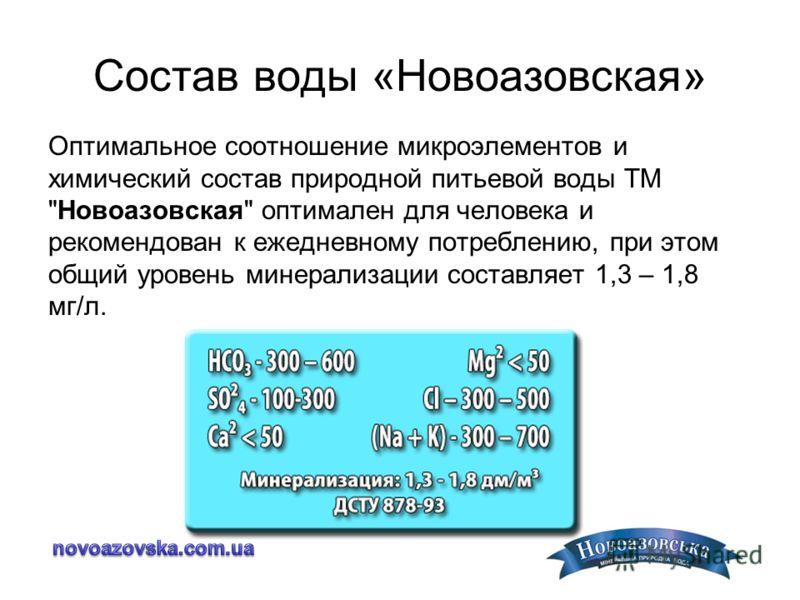 Состав воды «Новоазовская» Оптимальное соотношение микроэлементов и химический состав природной питьевой воды ТМ