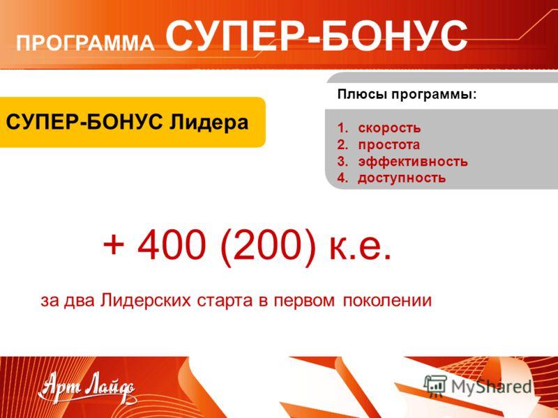 СУПЕР-БОНУС Лидера + 400 (200) к.е. Плюсы программы: 1.скорость 2.простота 3.эффективность 4.доступность за два Лидерских старта в первом поколении ПРОГРАММА СУПЕР-БОНУС