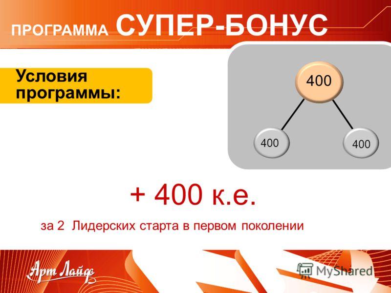 Условия программы: + 400 к.е. за 2 Лидерских старта в первом поколении ПРОГРАММА СУПЕР-БОНУС 400