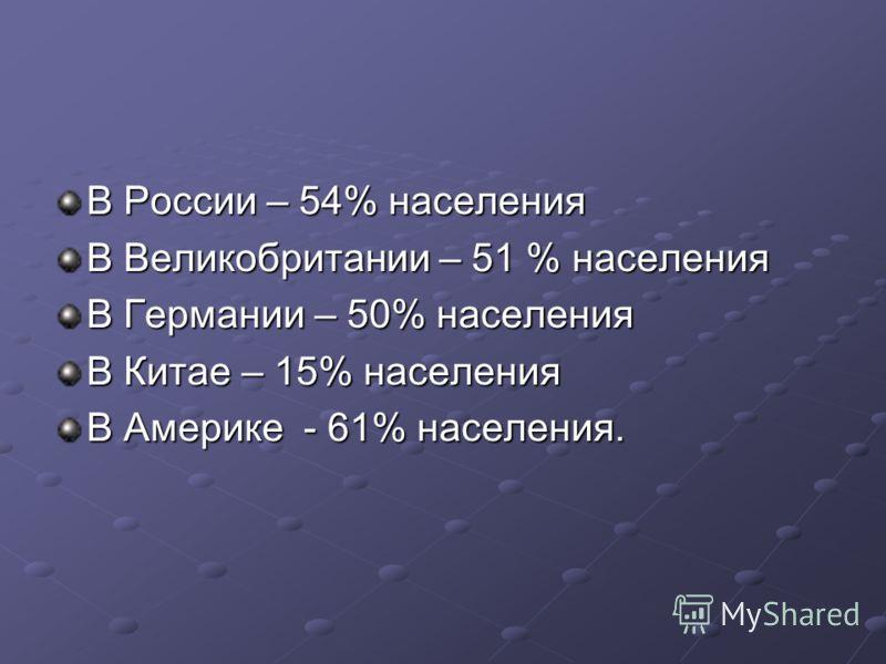 В России – 54% населения В Великобритании – 51 % населения В Германии – 50% населения В Китае – 15% населения В Америке - 61% населения.