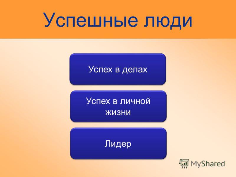Успешные люди Лидер Успех в делах Успех в личной жизни
