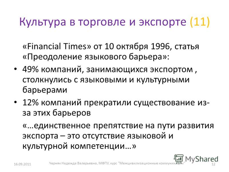 Культура в торговле и экспорте (11) «Financial Times» от 10 октября 1996, статья «Преодоление языкового барьера»: 49% компаний, занимающихся экспортом, столкнулись с языковыми и культурными барьерами 12% компаний прекратили существование из- за этих