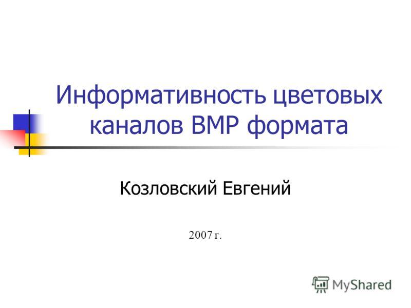 Информативность цветовых каналов BMP формата Козловский Евгений 2007 г.