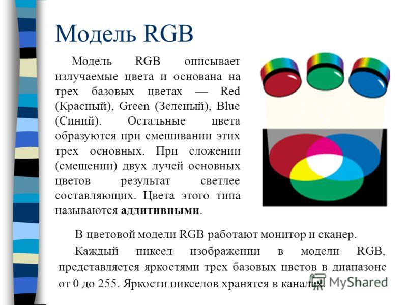 Модель RGB Модель RGB описывает излучаемые цвета и основана на трех базовых цветах Red (Красный), Green (Зеленый), Blue (Синий). Остальные цвета образуются при смешивании этих трех основных. При сложении (смешении) двух лучей основных цветов результа