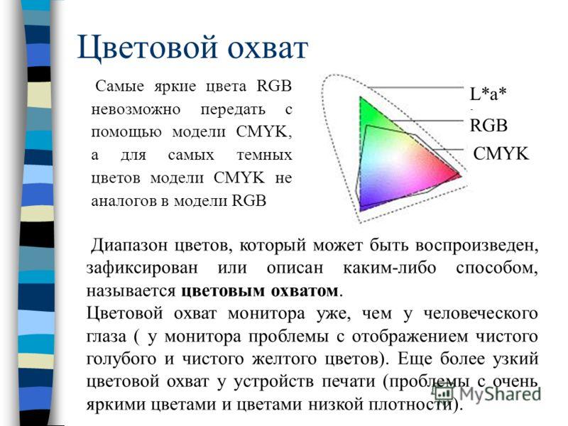 Цветовой охват L*a* b RGB CMYK Самые яркие цвета RGB невозможно передать с помощью модели CMYK, а для самых темных цветов модели CMYK не аналогов в модели RGB Диапазон цветов, который может быть воспроизведен, зафиксирован или описан каким-либо спосо
