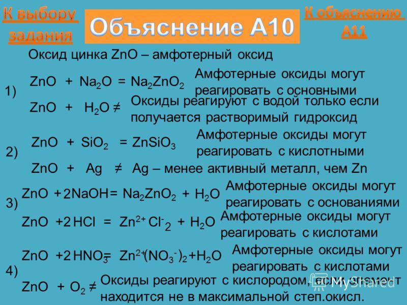 1) ZnO+Na 2 O=Na 2 ZnO 2 Амфотерные оксиды могут реагировать с основными Оксид цинка ZnO – амфотерный оксид ZnO+H2OH2O Оксиды реагируют с водой только если получается растворимый гидроксид 2)2) ZnO+SiO 2 =ZnSiO 3 Амфотерные оксиды могут реагировать с