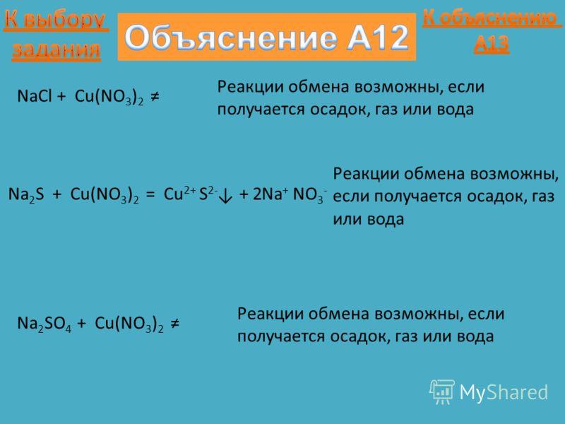 NaCl+Cu(NO 3 ) 2 Реакции обмена возможны, если получается осадок, газ или вода Na 2 S+Cu(NO 3 ) 2 =Cu 2+ S 2- +Na + NO 3 - 2 Реакции обмена возможны, если получается осадок, газ или вода Na 2 SO 4 +Cu(NO 3 ) 2 Реакции обмена возможны, если получается